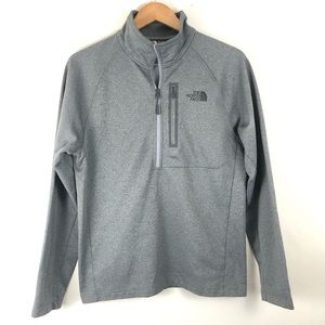 North Face Gray Heathered Shell 1/4 Zip Pullover M